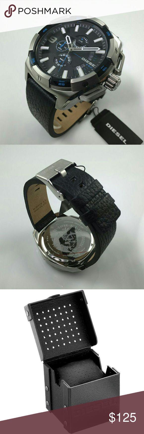 Diesel Men's Heavyweight Black Leather Watch New with tags in original diesel box. Diesel heavyweight dz4392 watch. Black leather Japan movement. Stainless steel case. Diesel Accessories Watches