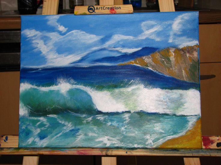 Meine erste Welle- Acry auf Leinwand 40x50