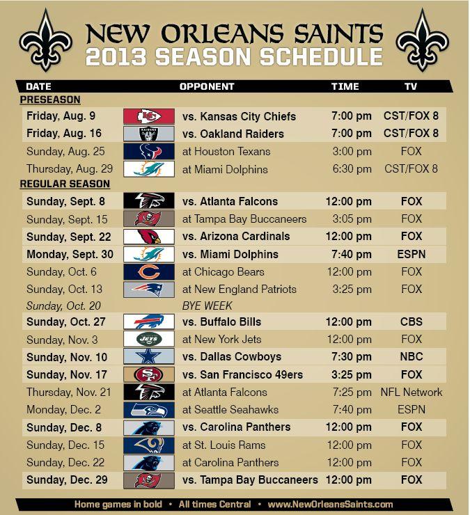 New Orleans Saints 2013 Schedule | ... Saints complete 2013 football schedule including the preseason games