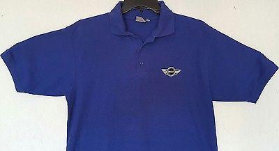 Mens Mini Cooper Factory Employee Work Polo Shirt Medium Blue BMW British Car