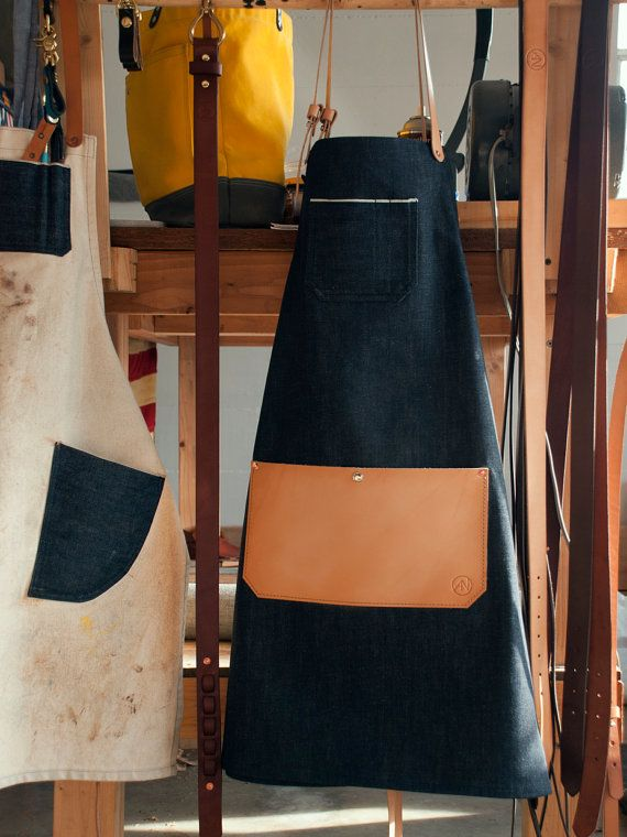 Selvedge Denim Leather Apron Made in U.S.A. by AmericanNative
