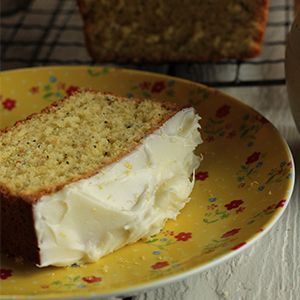 Lemon & Poppy Seed Loaf with a Creamy Lemon Topping by Nessa Robins.   A simple, zesty loaf with a creamy topping.