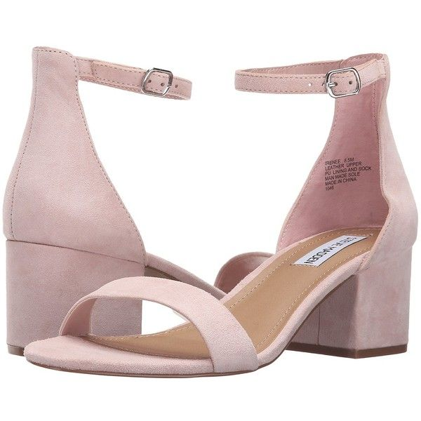 Steve Madden Irenee (Pink Suede) Women's 1-2 inch heel Shoes ($80) ❤ liked on Polyvore featuring shoes, sandals, suede sandals, mid heel sandals, pink sandals, mid-heel sandals and suede shoes