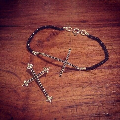 Silver Crosses with Black Spinel