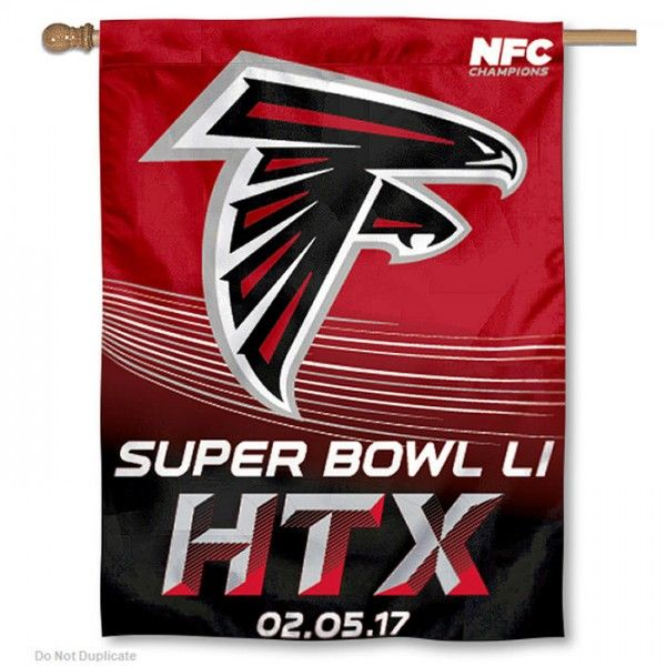 """This Atlanta Falcons NFC Champions Super Bowl LI Banner Flag are 27""""x37"""", have current NFL Team Logo Designs, made of polyester, and..."""
