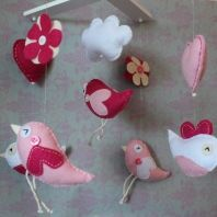 Felt mobile birds - gorgeous for a little girls nursery room