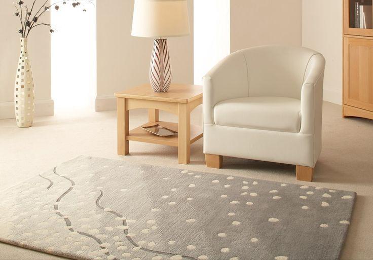 Enomis handtufted wool rug Snowstorm design in cream and grey £445