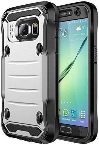 S7 Case Galaxy S7 Case SGM Premium Hybrid High Impact Shock Absorbent Defender Case With Anti-Slip Grip For Galaxy S7 With Built-In Screen Protector (Silver  Black)