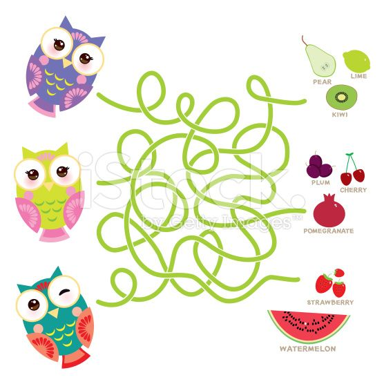owls with fruits and berries labyrinth game for Preschool Children. royalty-free stock vector art