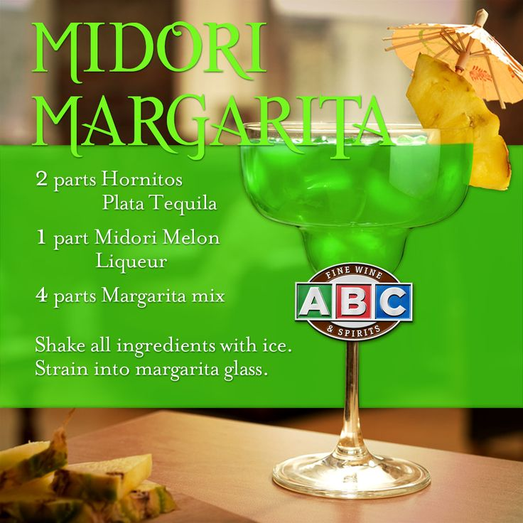 Add a pineapple wedge and mini umbrella to this Midori Margarita, and you have the perfect pool drink