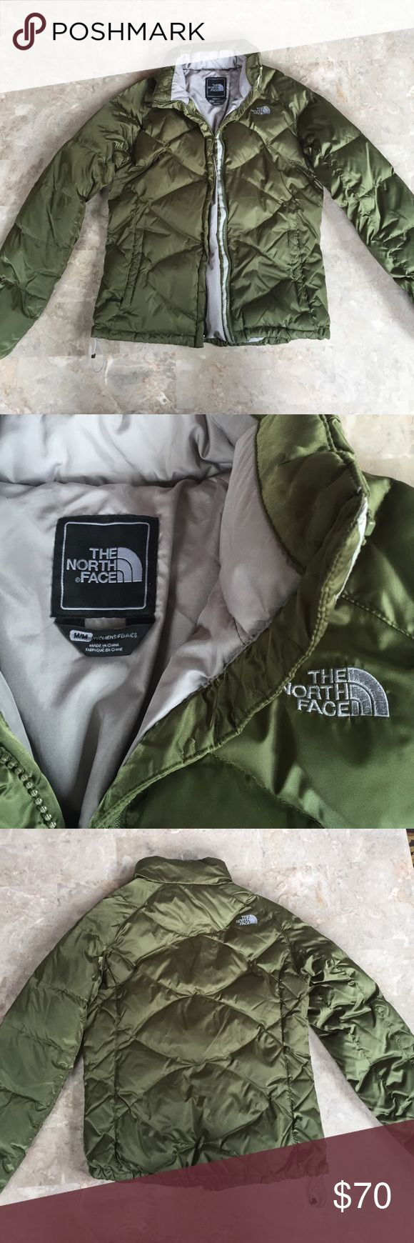The North Face olive green puffer jacket This is in great condition! A beautiful shiny olive green color. 550 series, very durable and warm. Size is women's medium and fits true to size. No stains or holes. The North Face Jackets & Coats Puffers