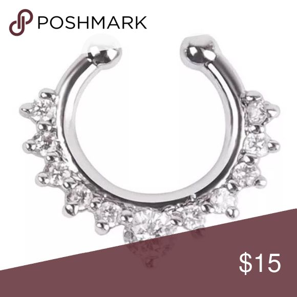 Silver Crystal Faux Clip On Nose Nasal Septum Ring BEAUTIFUL SILVER CRYSTAL CLIP-ON FAUX NASAL SEPTUM RING. GREAT IF YOU WANT A SEPTUM RING WITHOUT THE ACTUAL PIERCING! THESE NASAL RINGS ARE MADE OF SURGICAL STEEL AND VERY HIGH QUALITY. I ALSO HAVE THIS IN GOLD SO CHECK OUT MY OTHER LISTINGS!! Jewelry