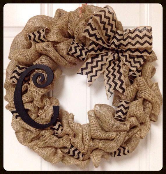 Chevron Burlap Wreath with Monogram- Front Door Wreath- Year Round Wreath- Initial Wreath- Winter Wreath- Spring wreath- Wedding gift on Etsy, $53.00
