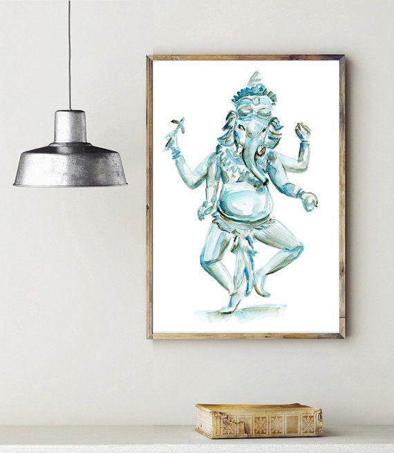 Ganesha schilderij  Aquarel Boeddhisme  Ganesh kunst door Zendrawing