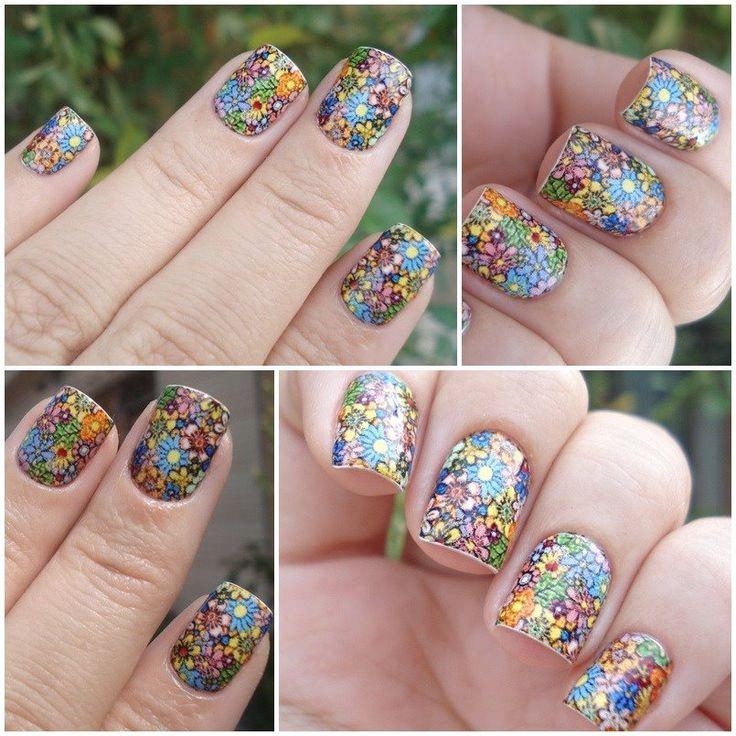 uñas decoradas multicolor