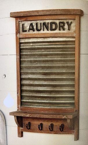 New Primitive Rustic Farmhouse Chic LAUNDRY ROOM WASHBOARD SHELF Key Hooks #Unbranded