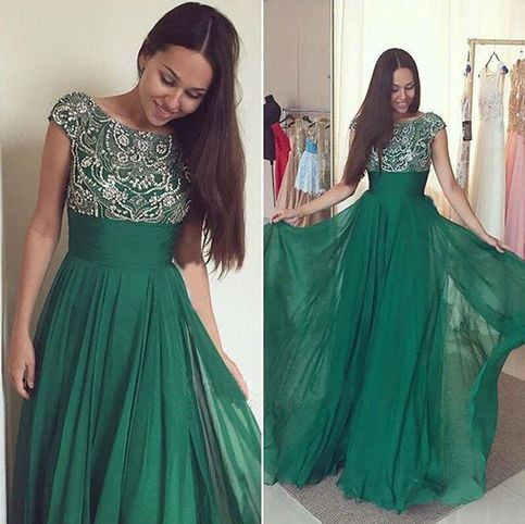 Fantastic Dark Green Prom Dress,Cap Sleeve Prom Dress,Crystal Beaded Prom Dress,Evening Dress Long ,Chiffon Party Dress,Wedding Party Dress,Formal Dress Long ,Custom Made Dress,the Maid of Honor Dress