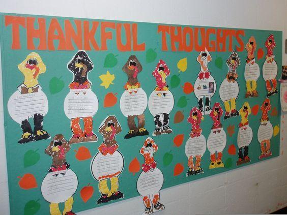 thanksgiving bulletin board ideas elementary | Thankful Thoughts November Bulletin Board Idea - MyClassroomIdeas.com