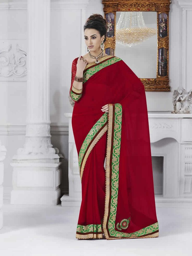 buy saree online Red Colour Georgette Embroidered Party Wear Saree Buy Saree online - Buy Sarees online