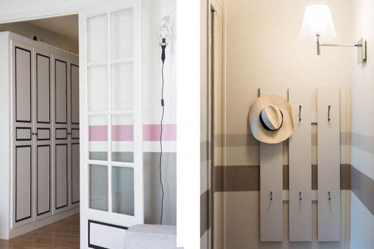 Entrée sympa: des lignes sur les murs qui guident le regard; j'aime aussi le système d'accroche pour les chapeaux et éventuellement manteaux d'enfants