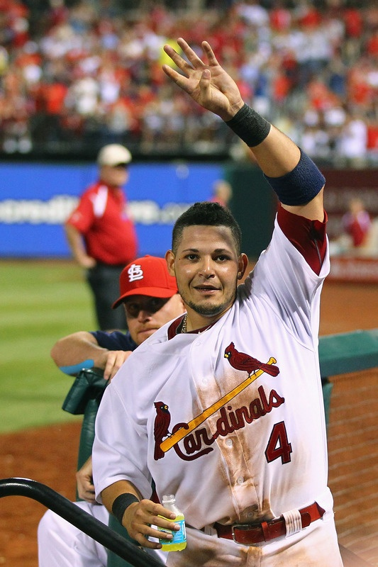 Yadier Molina Acknowledges the crowd after hitting a 2 run homer  5-24-12