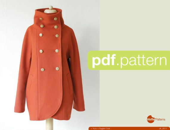 PDF sewing pattern Women Raglan Coat -Yuzu- (size 34-48)