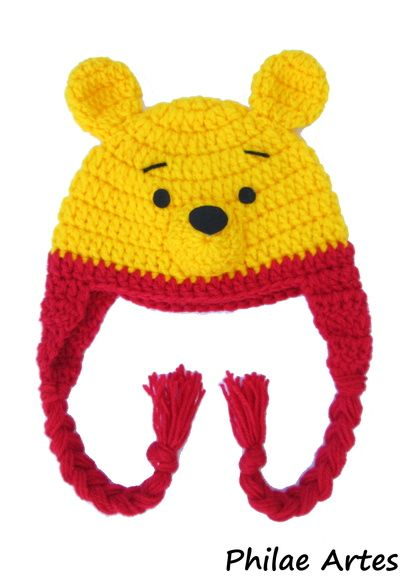 Pooh, ursinho, beanie, hat, crochet croche, crochê, cartoon - by Philae Artes
