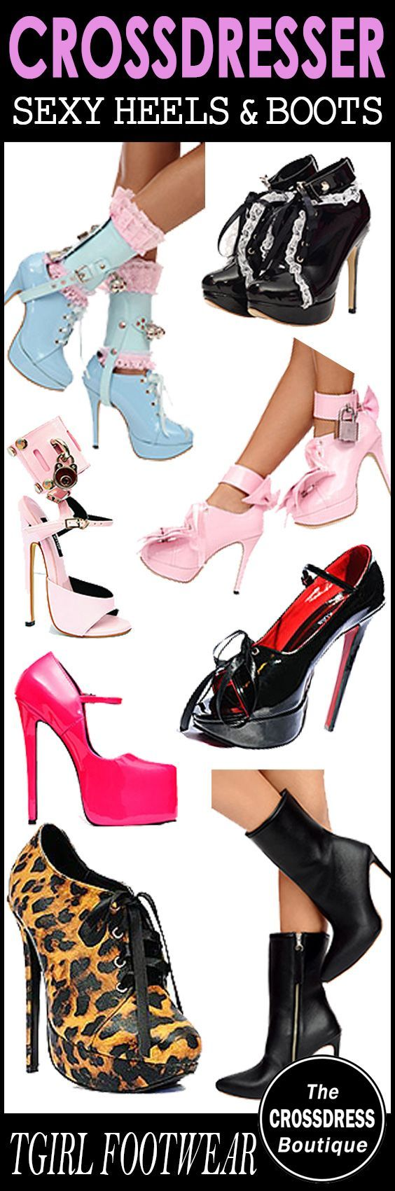 Sexy Crossdresser Footwear - Shoes, Heels and Boots. See the range here: http://www.crossdressboutique.com/tgirl/shoes-boots-hosiery/
