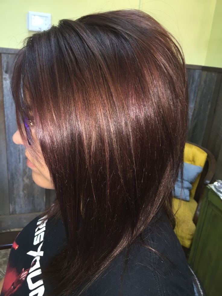 Cute Long Swing Bob With Beautiful Red Violet Tones Hair