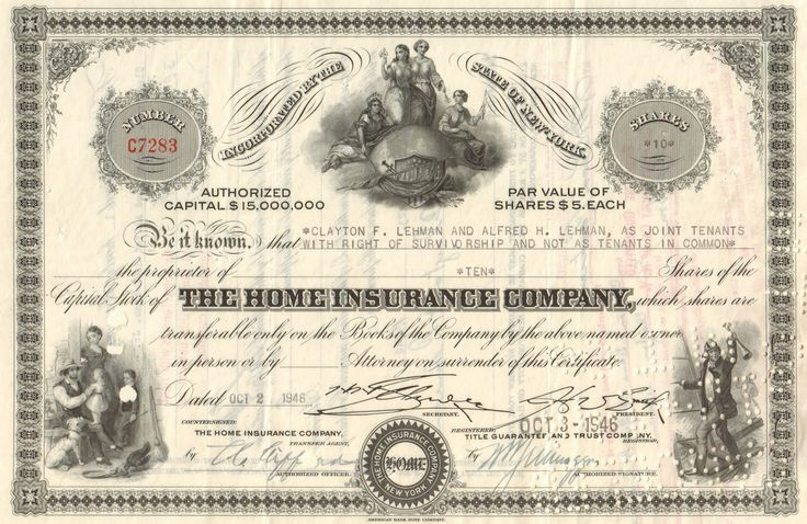 Home Insurance Company 1946 New York