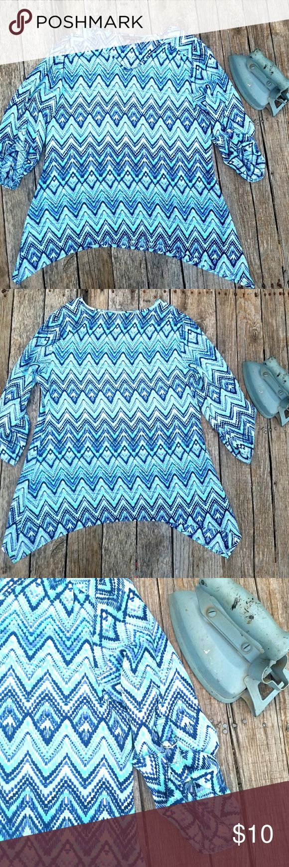 Zac & Rachel Chevron top Super cute! Zac & Rachel Chevron top. 3/4 Sleeve with Silver accent clasps. Teal, Navy & purple chevron print. Light weight & flattering fit. Zac & Rachel Tops Blouses