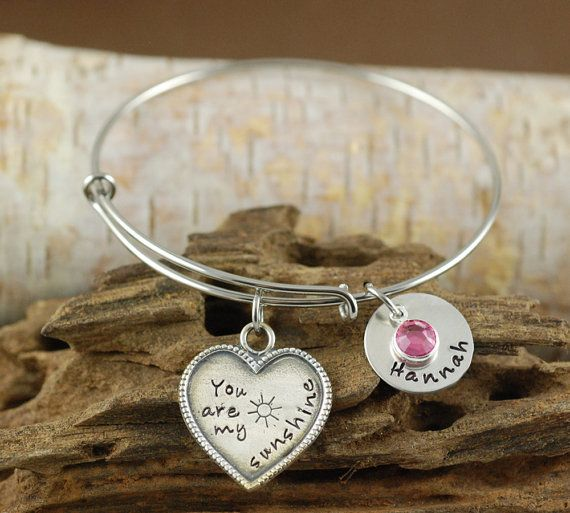 Personalized Bangle Bracelet, You Are My Sunshine Bracelet - Silver Bangle Charm Bracelet