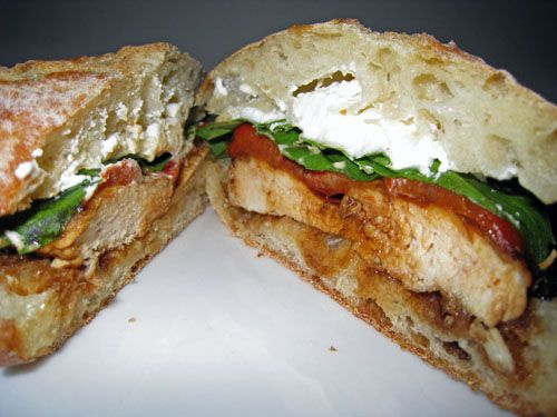 Balsamic glazed chicken sandwich with roasted red peppers, goat cheese and basil. Yum!