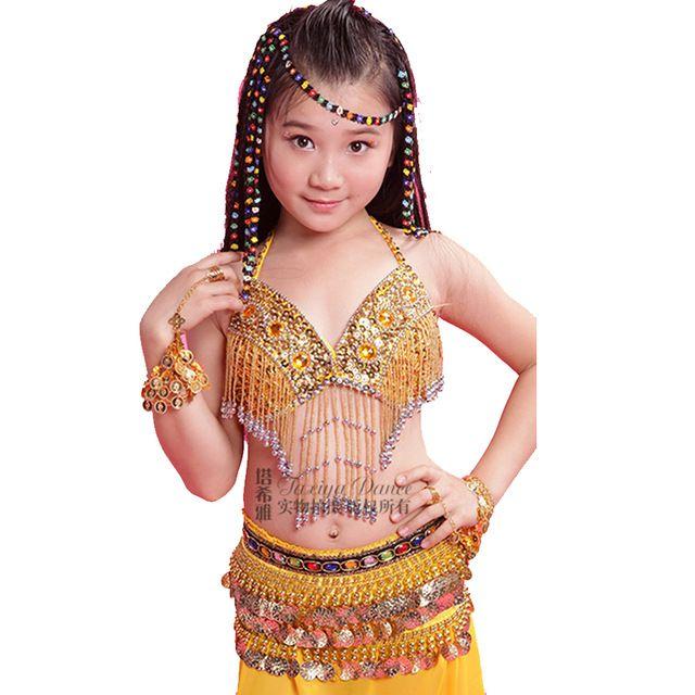 Menina Trajes de Dança de Bollywood Bra & Skirt & Corrente de Cintura Crianças Traje de Dança Do Ventre Definir Rosa/Amarelo/Vermelho crianças Indianas Roupas India
