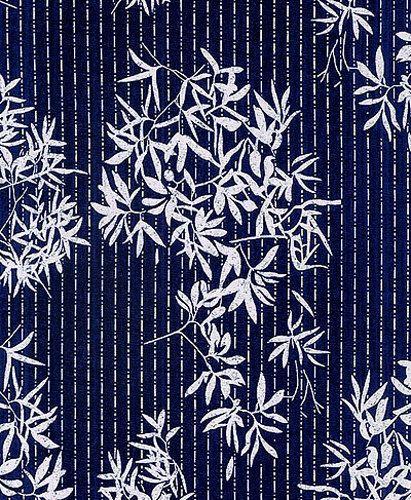 Tissu japonais KATAGAMI INDIGO : Bambou (par incréments de 1/2 Yd)