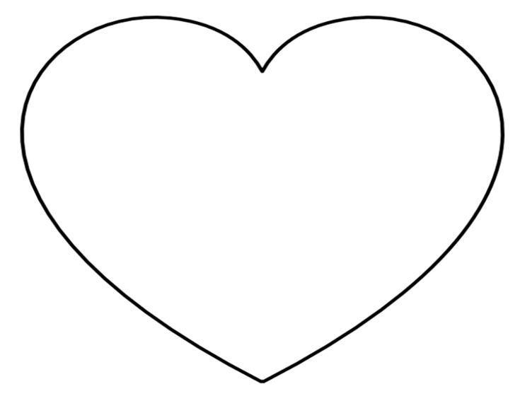 X Extra Large Heart on Single Page - Landscape Orientation...perfect as an applique or craft stencil