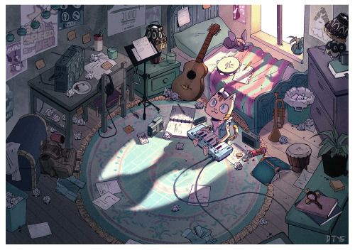 catalistuniverse:  Hal's room! Art by:http://danaterrace.tumblr.com/   A piece I finished a couple months ago for Catalist.His room is cleaner than mine ._.