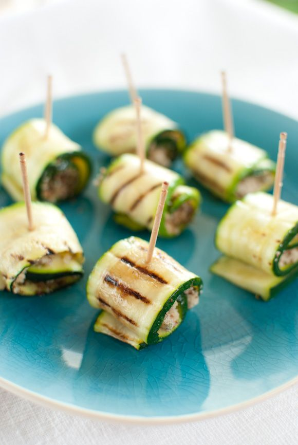 Zucchini rolls with almond, rosemary and lemon stuffing