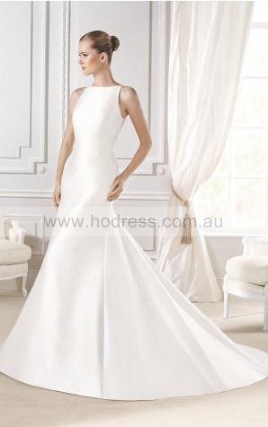 Sheath Sleeveless Jewel Buttons Chapel Train Wedding Dresses fvbf1013--Hodress