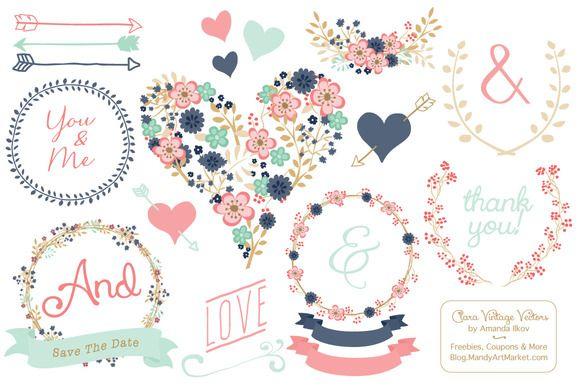 Modern Floral Heart & Banners by Amanda Ilkov on @creativemarket