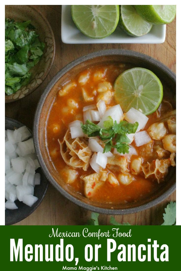 Menudo, or Pancita, is Mexican comfort food at its best. Served for Sunday brunch and shared with lots of love. By Mama Maggie's Kitchen via @maggieunz