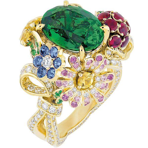 Кольцо Precieuses Champetre (желтое золото, бриллианты, изумруды, рубины, желтые, пурпурные, розовые  и синие сапфиры)
