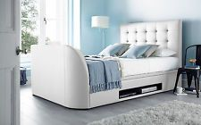 "Barnard White Leather Ottoman Super King Size Storage TV bed Inc LG 43"" Smart TV"