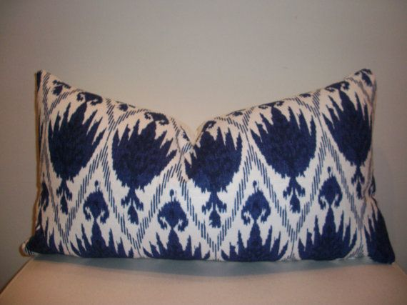 13 x 22  Indigo Blue and White Ikat  Designer Pillow Cover via Etsy: 22 Indigo, Ikat Design, Designer Pillow, Accent Pillows, Indigo Blue, White Ikat, Design Pillows, Blue And White, Throw Pillows Covers