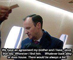 SHERLOCK (BBC) ~ Mycroft Holmes (Mark Gatiss) and Sherlock Holmes (Benedict Cumberbatch) in the pre-Season 4 special, SHERLOCK: THE ABOMINABLE BRIDE. [GIF]