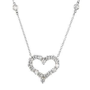 A Tiffany & Co. platinum diamond pendent necklace.
