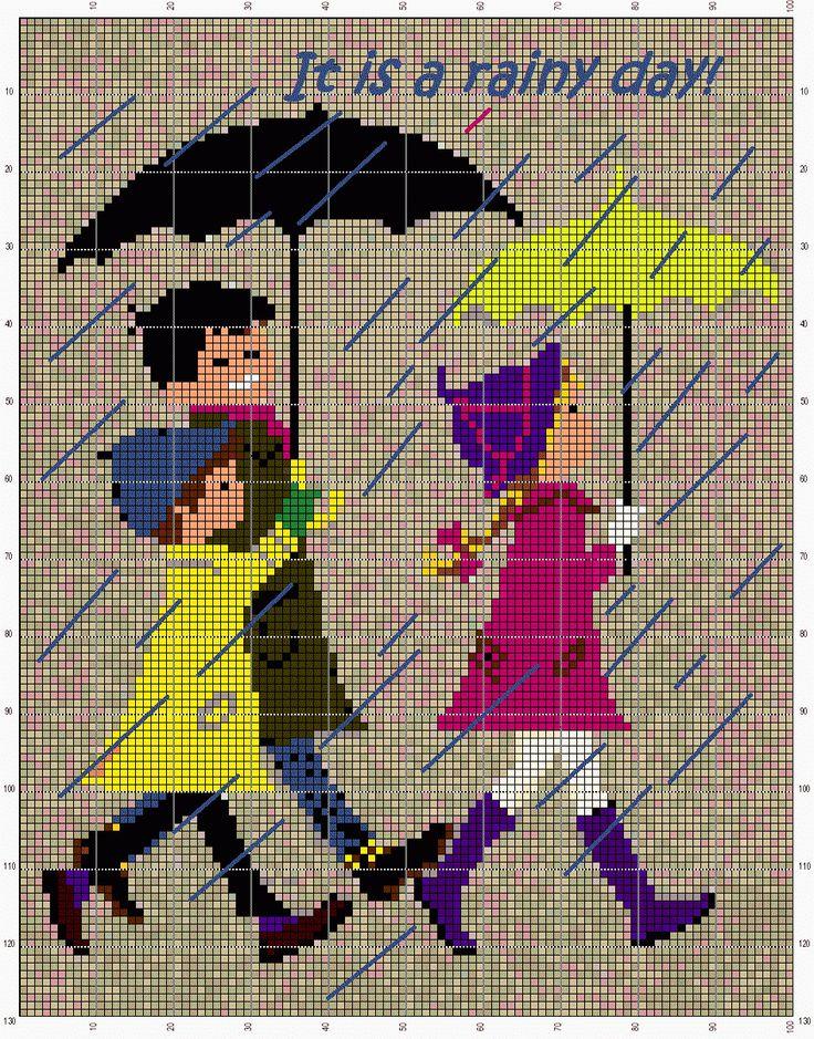 Nurdan' ın Yeri - A Cross Stitch Blog: It Is a Rainy Day! (Finish) Yağmurlu Bir Gün (Bitti)