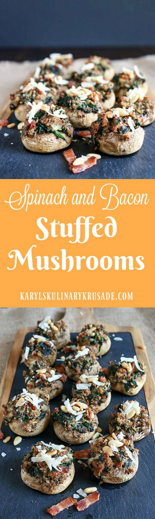 Spinach and Bacon Stuffed Mushrooms have that hearty bite and delicious goodness that will make you the hit of your next party. Baby spinach, thick-cut bacon, fresh Parmesan and toasted pine nuts create a wonderful combination #mushrooms #bacon #spinach #cheese #appetizer #fingerfood #partyfood #karylskulinarykrusade