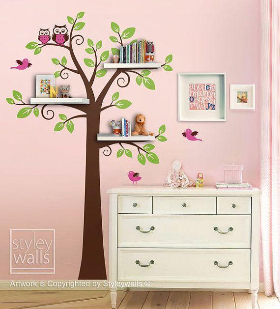 Estantes árbol etiqueta niños pared calcomanía por styleywalls
