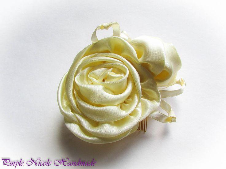 Vintage Vanilla Wedding - Handmade Decorative Hair Comb by Purple Nicole (Nicole Cea Mov). Materials: ivory satin, all handmade.